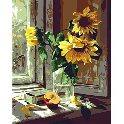 (Framed Canvas, Warm sunflower) - Diy Oil Painting, Paint by Number Kit for Kids, Students, Adults...