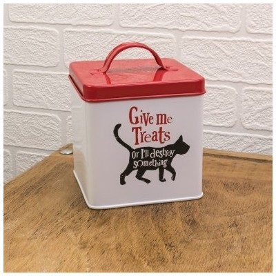 Really Good Give Me Treats Cat Tin 楽しい収納ボックス