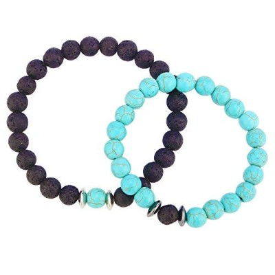 baublestar Couple Relationship Friendship距離ブレスレットStretch Beaded Bracelets for lovers、2のセット