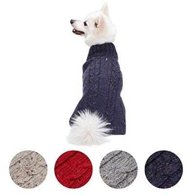 Blueberry Pet Nep Yarn Wool Blend Cable Knit Pullover Turtleneck Dog Jumper in Deep Charcoal, Back...