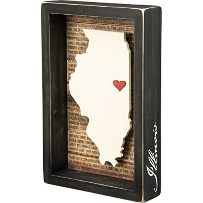 Illinois State Shape Box Sign Primitives by Kathy by Primitives By Kathy