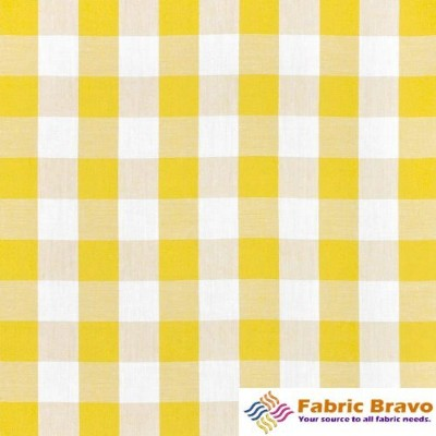 LA Linen 1-Inch Checkered Gingham Polyester Poplin Fabric By the Yard, 60-Inches Wide, Light Yellow...
