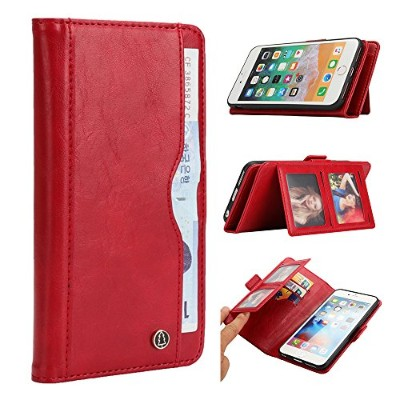 For iPhone 7 Plus iPhone 8 Plus Case, [Extra Card Slot] Phoebe [Wallet Case] PU Leather TPU Casing...