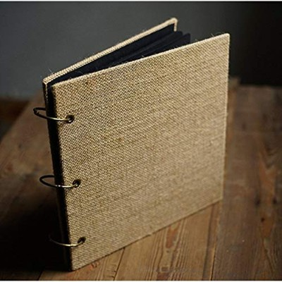 (Square Black Inner Paper) - DEBON Multi-purpose Retro Burlap Photo Album DIY Manual Scrapbook ...