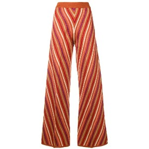 Twin-Set metallic striped knitted trousers - オレンジ