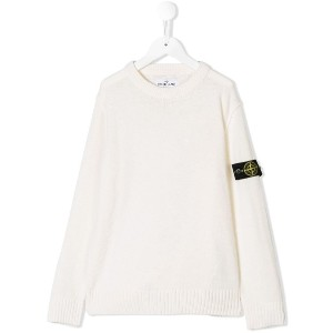 Stone Island Junior round neck knit jumper - ホワイト