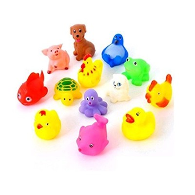 13pcs Cute Soft Rubber Float Sqeeze Sound Baby Wash Bath Toys Play Toys Animal Toys by Home_Dress
