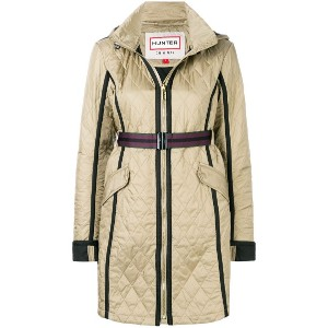 Hunter quilted hooded coat - グリーン