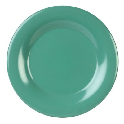 Excellante Green Melamine Collection 23cm Wide Rim Round Plate, Green, 12-Piece