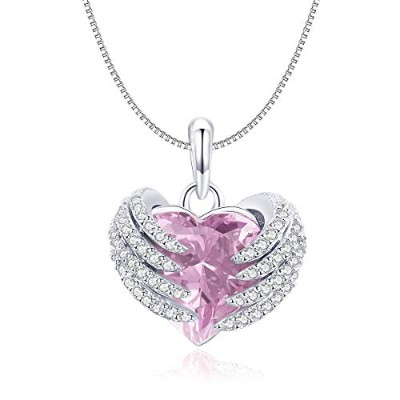 WOSTU S925 Elegant Guardian Heart Pink CZ Pendant Necklace for women エレガント ネックレス 守る心 キュービックジルコニア...