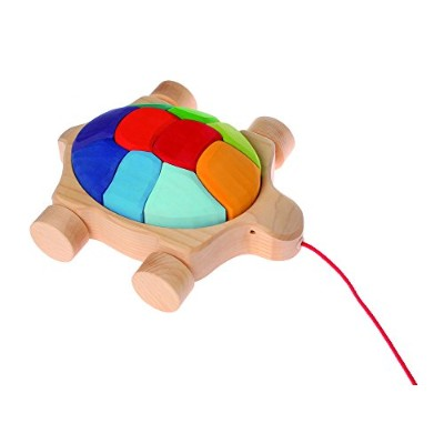 (Rainbow) - Grimm's Turtle Pull Along Toy with Waldorf Building Blocks