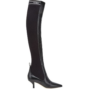 Fendi Rockoko thigh-high boots - F07lv-Black+Black White