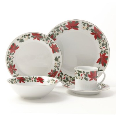 Gibson Poinsettia Holiday食器セット、20-piece