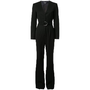Calvin Klein belted tailored jumpsuit - ブラック