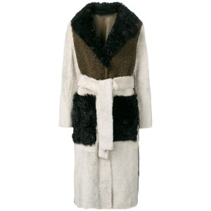 Yves Salomon tricolour shearling trench coat - グリーン