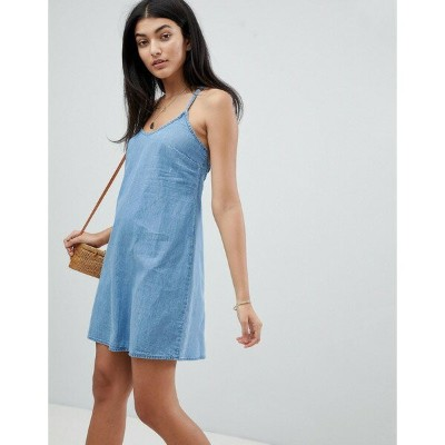 エイソス レディース ワンピース トップス ASOS DESIGN denim slip dress with low back in midwash blue Blue