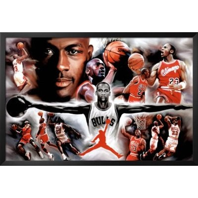 Professionally Framed Michael Jordan Wings Collage Vintage Sports Poster Print - 24x36 with Solid...
