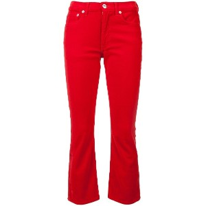 Re/Done velvet kick flare cropped trousers - レッド