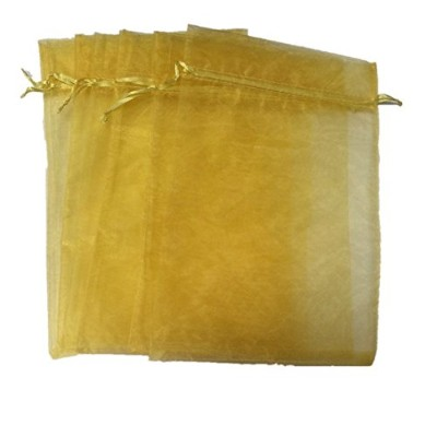 (Gold) - Equal Sign 50PCS 20cm x 30cm Organza Drawstring Pouches Jewellery Party Wedding Favour...