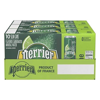 Perrier Sparkling Natural Mineral Water, Lime, 8.45 Ounce (Pack of 30) by Perrier