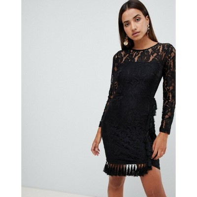 ラブトライアングル レディース ワンピース トップス Love Triangle open back lace bodycon dress with tassel skirt detail in...