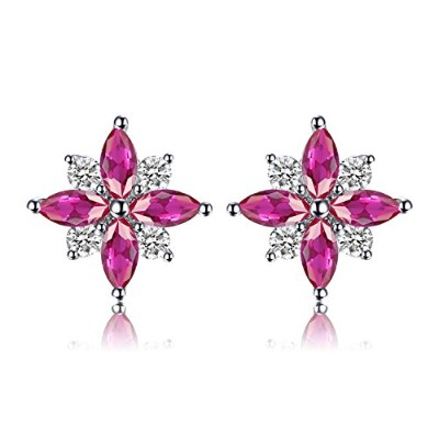 jewelrypalace花0.9 CT Created Rubyスタッドイヤリング925スターリングシルバー