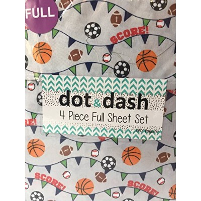 (Full) - Dot and Dash Basketball Soccer Football Baseball Sport Sheets with SCORE on Grey - 4 Piece...
