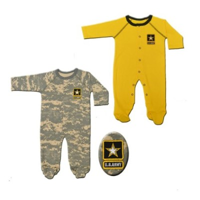 2pk Baby Infant Acu Army Crawlers / Sleepers Gold & Camo Set (9-12 Months) by Jolt TC
