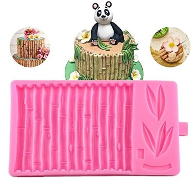 3D Bamboo Raft Cake Fondant Moulds,Bamboo Pattern Cake Border Decoration Moulds,Candy Baking Mat...