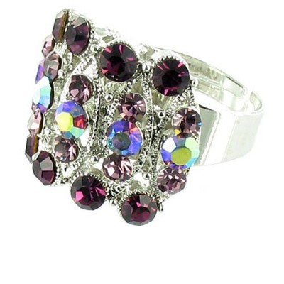 Purple on Silver Plated Cuff Style Cocktail Ring