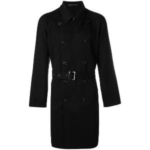 Giorgio Armani belted double-breasted coat - ブラック