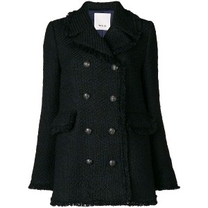 Pinko frayed double breasted coat - ブラック