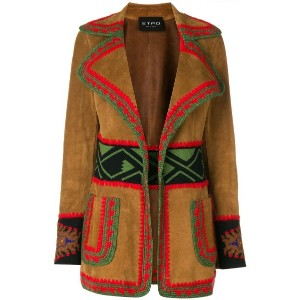 Etro embroidered leather jacket - ブラウン