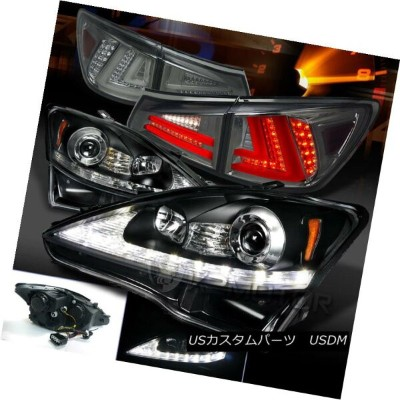 ヘッドライト 06-08 Lexus IS250 Black LED DRL Signal Projector Headlights+Smoke LED Tail Lamps 06-08 Lexus...