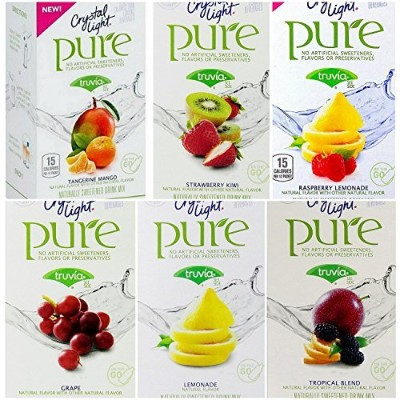 Crystal Light Pure On The Go Drink Mix Variety Pack, 6 Flavors, 1 Box of Each Flavor, 6 Boxes Total by Crystal Light