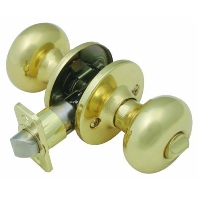 Design House 753277 Cambridge 2-Way Latch Privacy Door Knob, Polished Brass Finish