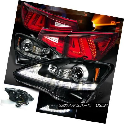 ヘッドライト 06-08 Lexus IS250 Black LED DRL Signal Projector Headlights+Red LED Tail Lamps 06-08レクサスIS250...
