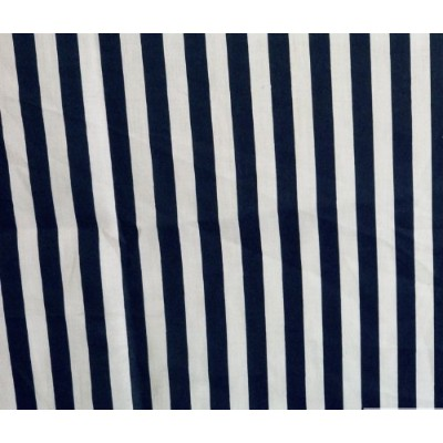 Stripes Small Navy White Poly Cotton 58 Inch Fabric By the Yard (F.E.) by The Fabric Exchange