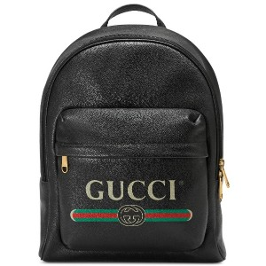 Gucci Gucci Print leather backpack - ブラック