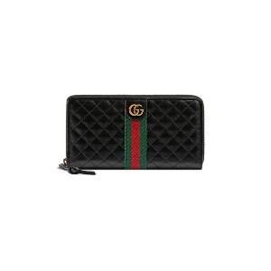 Gucci Leather zip around wallet with Double G - ブルー