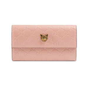 Gucci Gucci Signature continental wallet with cat - ピンク