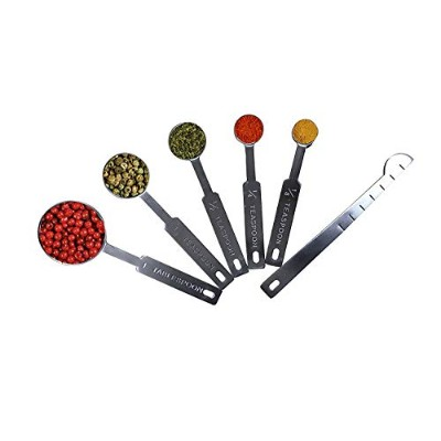 6 Piece Stackable Magnetic Stainless Steel Measuring Spoons for Dry or Liquid Ingredients, Accurate...