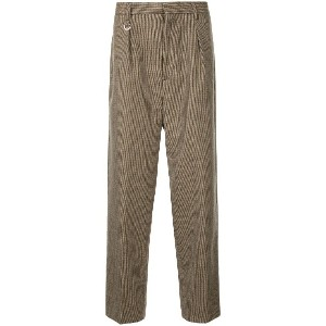 monkey time checked loose-fit trousers - ブラウン