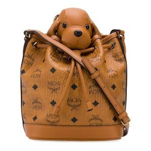 MCM small Visetos leather Zoo crossbody bag - ブラウン