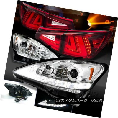 ヘッドライト 06-08 Lexus IS250 Chrome LED DRL Signal Projector Headlights+Red LED Tail Lamps 06-08レクサスIS25...