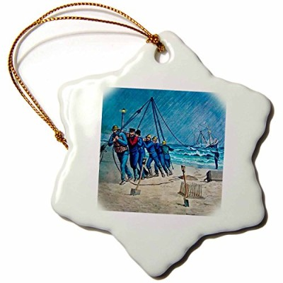 3drose Scenes from the Pastマジックランタンスライド – Vintage United States Coast Guard Rescue – Ornaments 3...