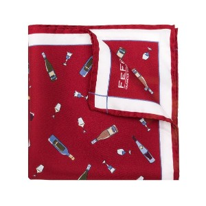 Fefè wine print pocket square - レッド