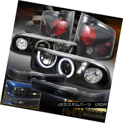 ヘッドライト 1998-2004 Chevy S10 Halo Projector Black Headlights+Signal+Dark Smoke Tail Light 1998...