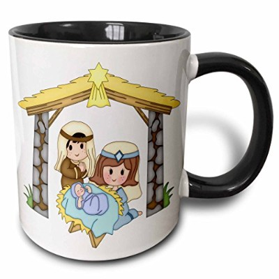 3dローズAnne Marie Baugh – クリスマス – キュートな国クリスマスNativity Scene Illustration – マグカップ 11-oz Two-Tone Black...