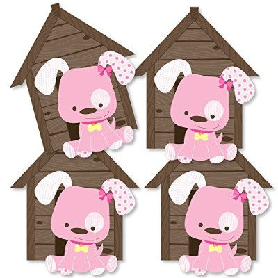 Girl Puppy Dog - Dog House Decorations DIY Baby Shower or Birthday Party Essentials - Set of 20